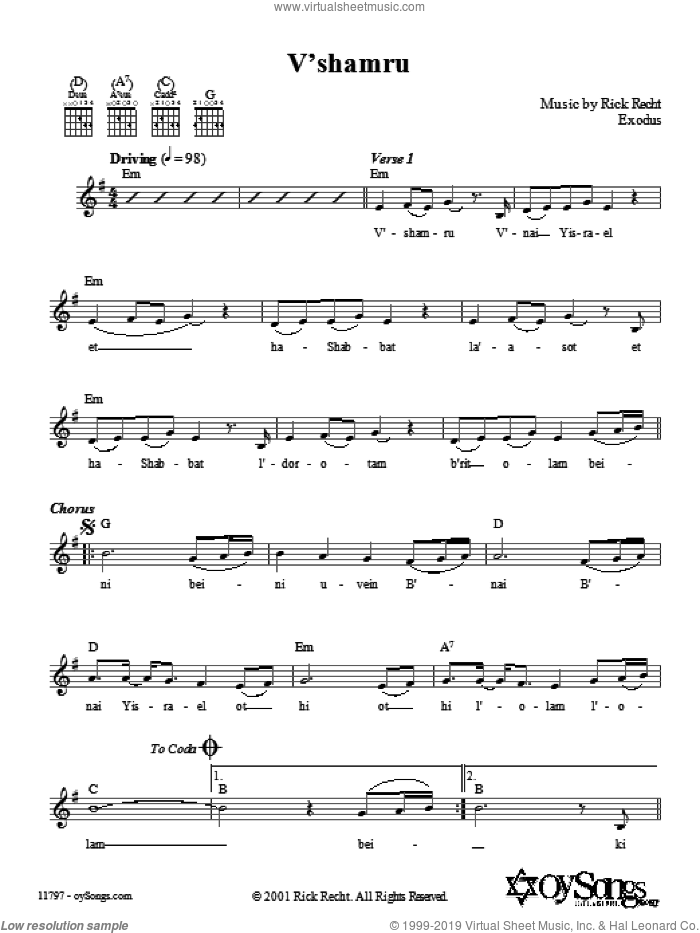 V'shamru sheet music for voice and other instruments (fake book) by Rick Recht. Score Image Preview.