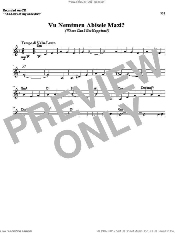 Vu Nemtmen Abisele Mazl? sheet music for voice and other instruments (fake book) by Zinovy Goro, intermediate. Score Image Preview.