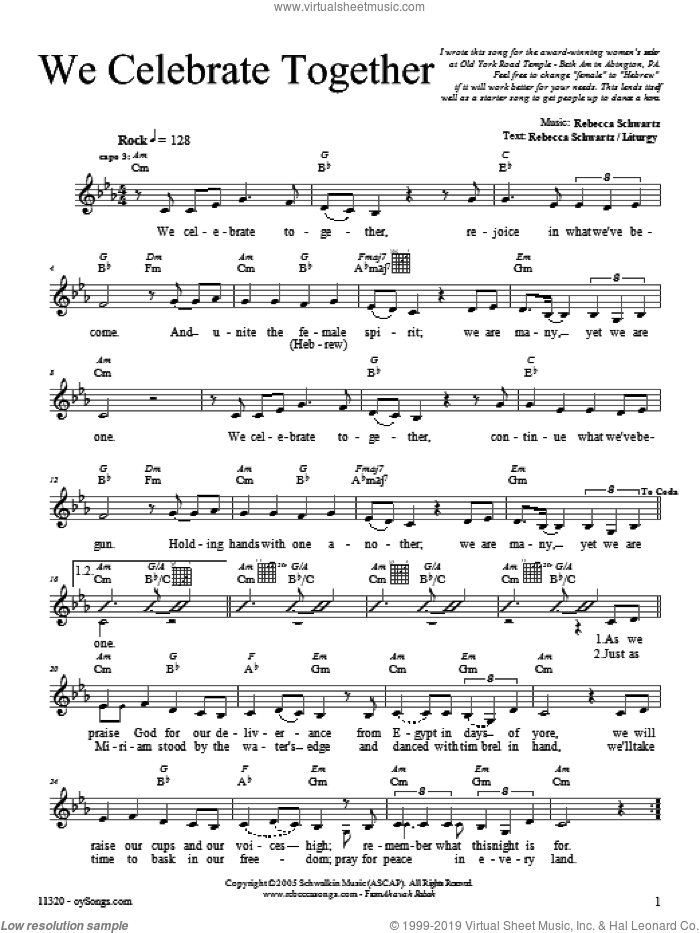 We Celebrate Together sheet music for voice and other instruments (fake book) by Rebecca Schwartz. Score Image Preview.