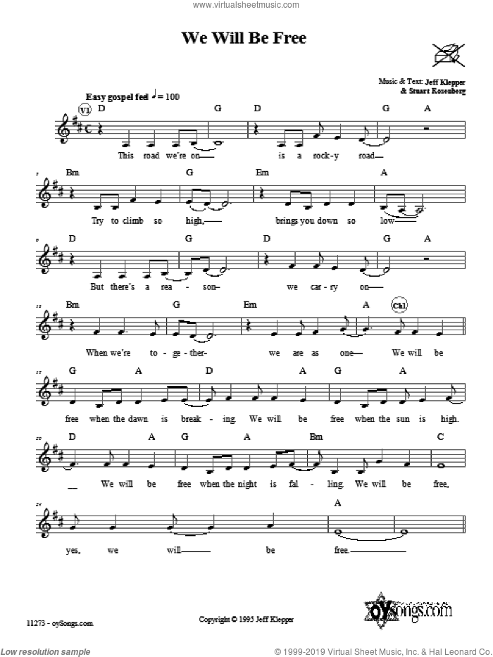 We Will Be Free sheet music for voice and other instruments (fake book) by Jeff Klepper, intermediate