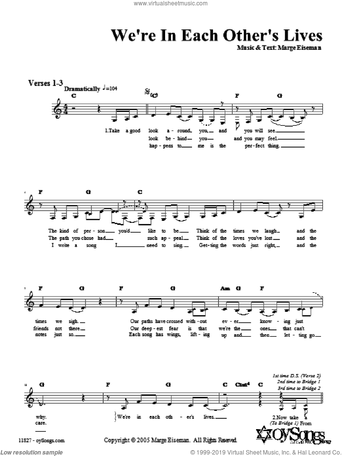 We're In Each Other's Lives sheet music for voice and other instruments (fake book) by Marge Eiseman. Score Image Preview.