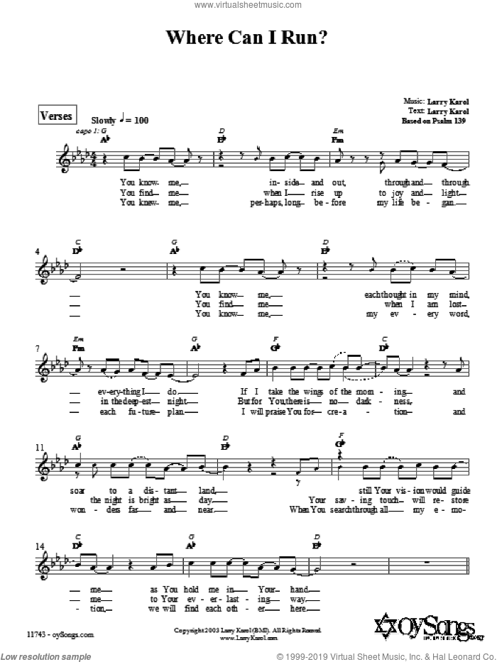 Where Can I Run? sheet music for voice and other instruments (fake book) by Larry Karol. Score Image Preview.
