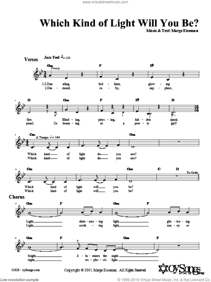 Which Kind of Light Will You Be? sheet music for voice and other instruments (fake book) by Marge Eiseman. Score Image Preview.