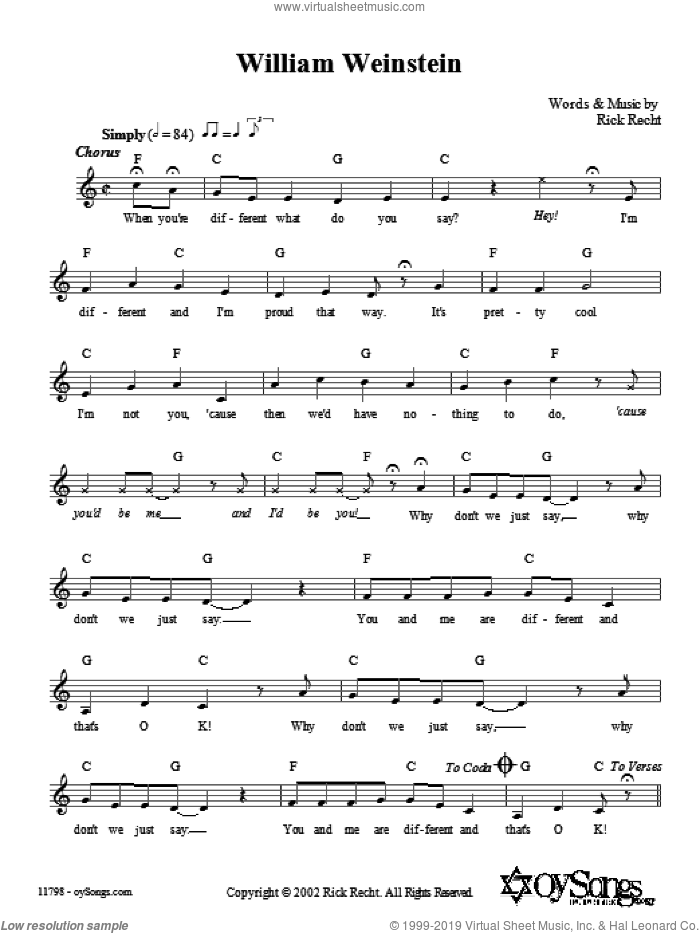 William Weinstein sheet music for voice and other instruments (fake book) by Rick Recht. Score Image Preview.