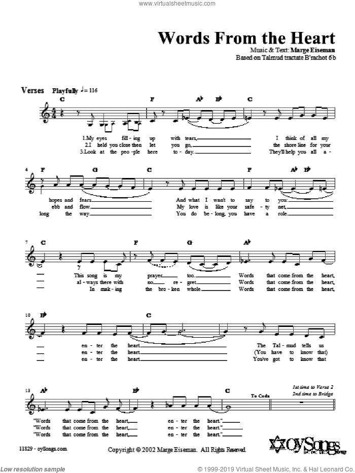 Words from the Heart sheet music for voice and other instruments (fake book) by Marge Eiseman
