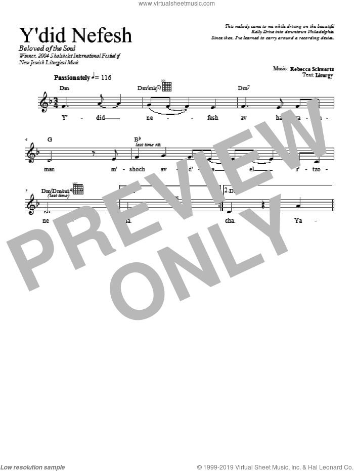 Y'did Nefesh sheet music for voice and other instruments (fake book) by Rebecca Schwartz, intermediate skill level
