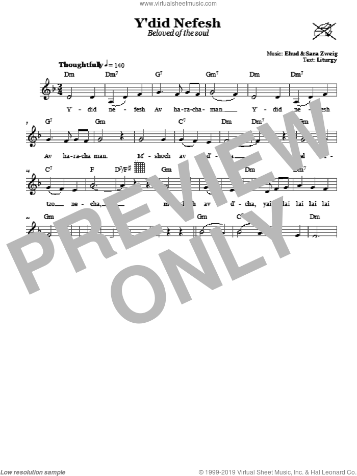 Y'did Nefesh (Beloved Of The Soul) sheet music for voice and other instruments (fake book) by Sara Zweig