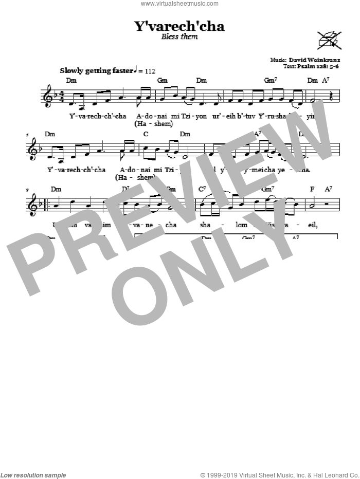 Y'varech'cha (Bless Them) sheet music for voice and other instruments (fake book) by David Weinkranz