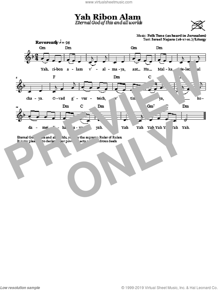 Yah Ribon Olam (Eternal God Of This And All Worlds) sheet music for voice and other instruments (fake book). Score Image Preview.