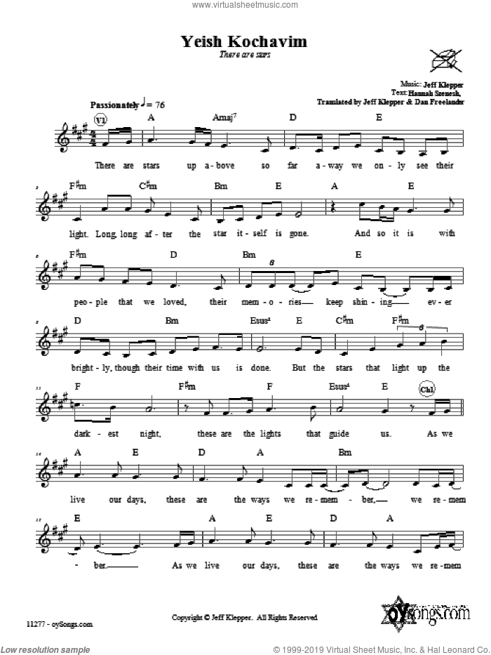 Yeish Kochavim (There Are Stars) sheet music for voice and other instruments (fake book) by Jeff Klepper