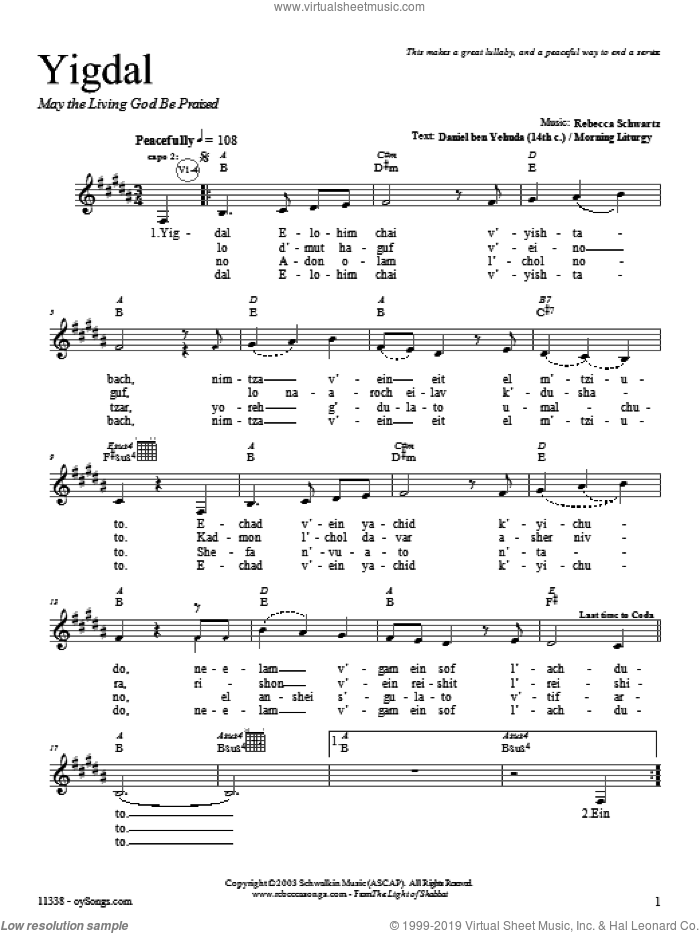 Yigdal sheet music for voice and other instruments (fake book) by Rebecca Schwartz, intermediate. Score Image Preview.