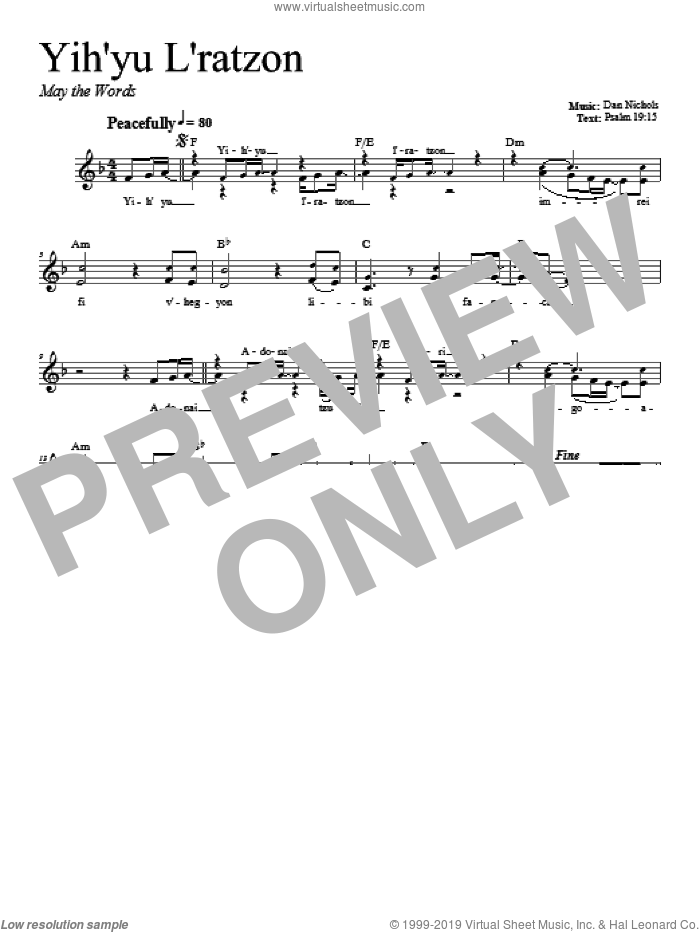 Yih'yu L'ratzon sheet music for voice and other instruments (fake book) by Dan Nichols. Score Image Preview.