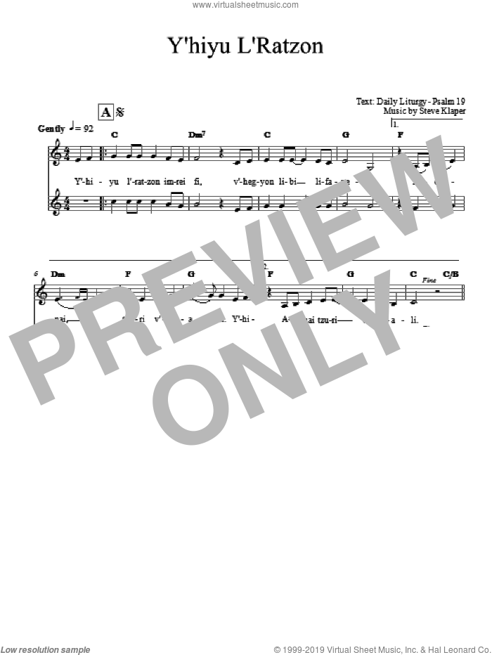 Yih'yu L'ratzon sheet music for voice and other instruments (fake book) by Steve Klaper. Score Image Preview.