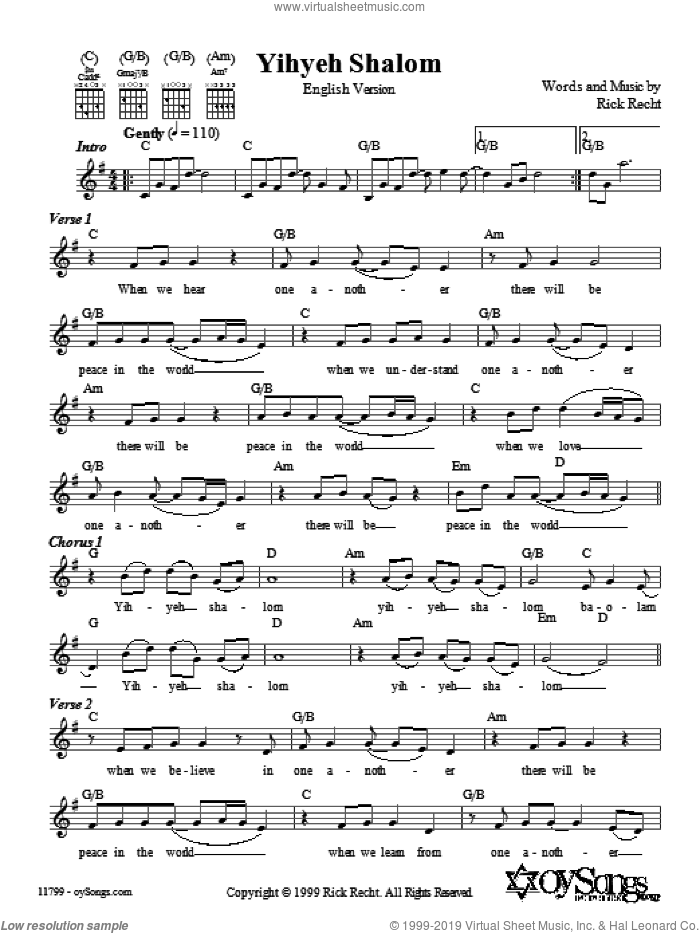 Yihyeh Shalom (English version) sheet music for voice and other instruments (fake book) by Rick Recht. Score Image Preview.