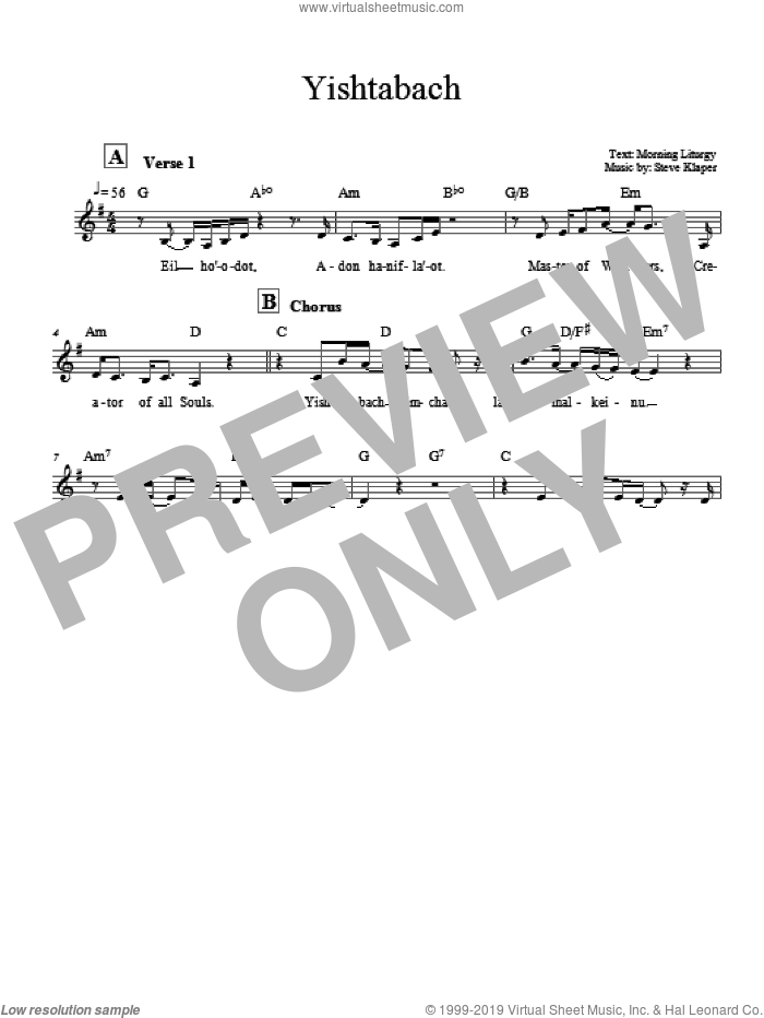 Yishtabach sheet music for voice and other instruments (fake book) by Steve Klaper. Score Image Preview.