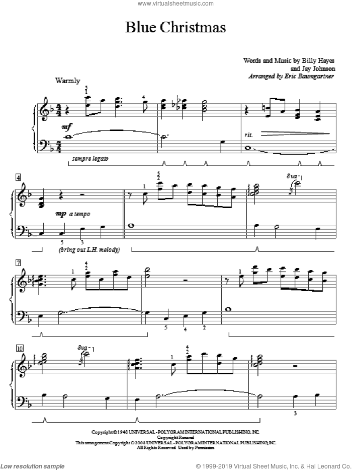 Blue Christmas sheet music for piano solo (elementary) by Jay Johnson, Elvis Presley, Eric Baumgartner and Billy Hayes. Score Image Preview.