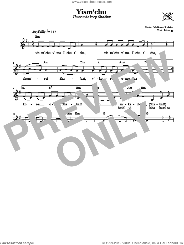 Yism'chu (Those Who Keep The Sabbath) sheet music for voice and other instruments (fake book) by Molitzer Rebbe, intermediate voice. Score Image Preview.