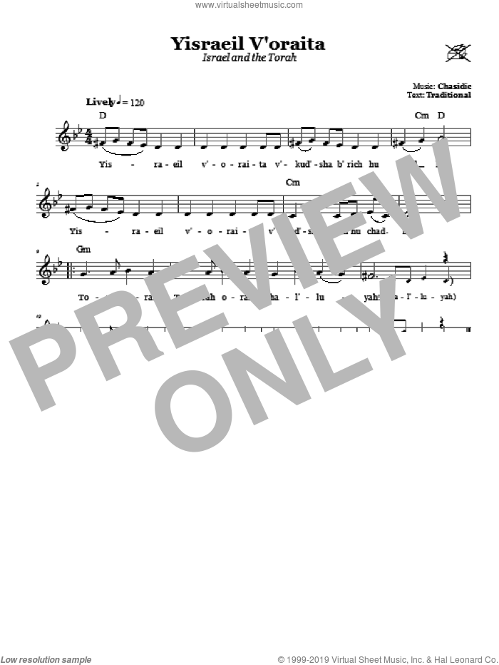 Yisraeil V'oraita (Israel and the Torah) sheet music for voice and other instruments (fake book) by Chasidic, intermediate. Score Image Preview.