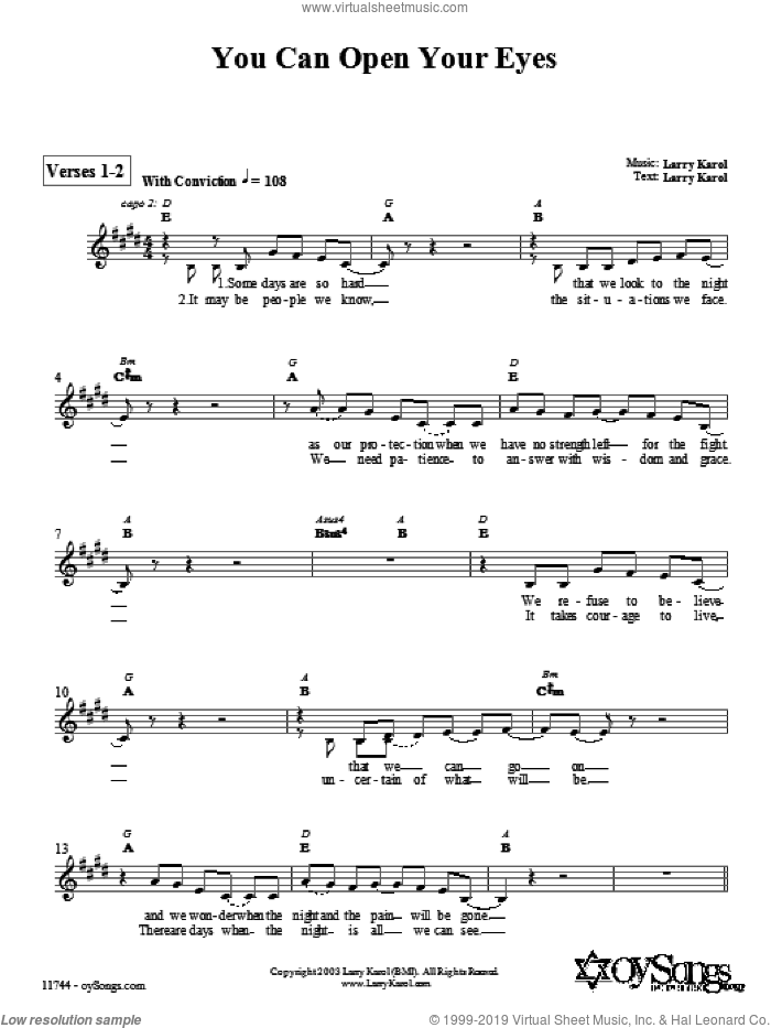 You Can Open Your Eyes sheet music for voice and other instruments (fake book) by Larry Karol, intermediate. Score Image Preview.