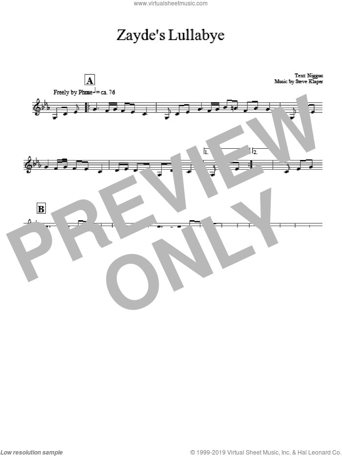 Zayde's Lullabye sheet music for voice and other instruments (fake book) by Steve Klaper. Score Image Preview.