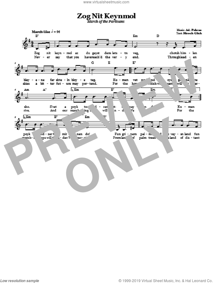Zog Nit Keynmol (March Of The Partisans) sheet music for voice and other instruments (fake book) by Ad. Pokras. Score Image Preview.