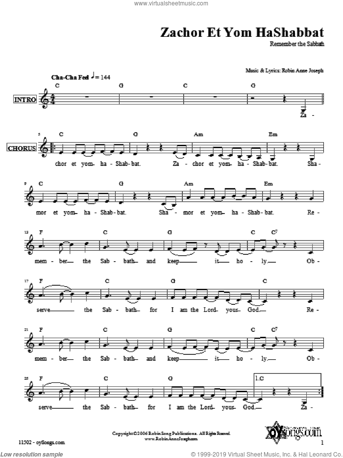 Zachor et Yom HaShabbat sheet music for voice and other instruments (fake book) by Robin Joseph. Score Image Preview.