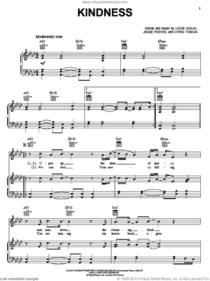 Kindness sheet music for voice, piano or guitar by Chris Tomlin and Jesse Reeves. Score Image Preview.