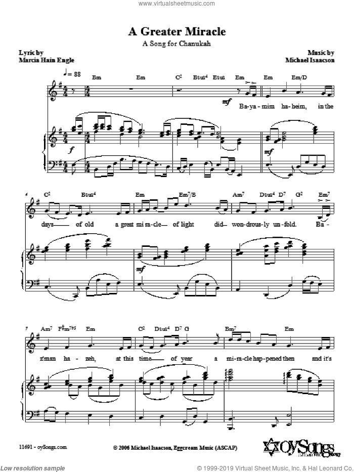 A Greater Miracle sheet music for voice, piano or guitar by Marcia Hain Engle and Michael Isaacson. Score Image Preview.