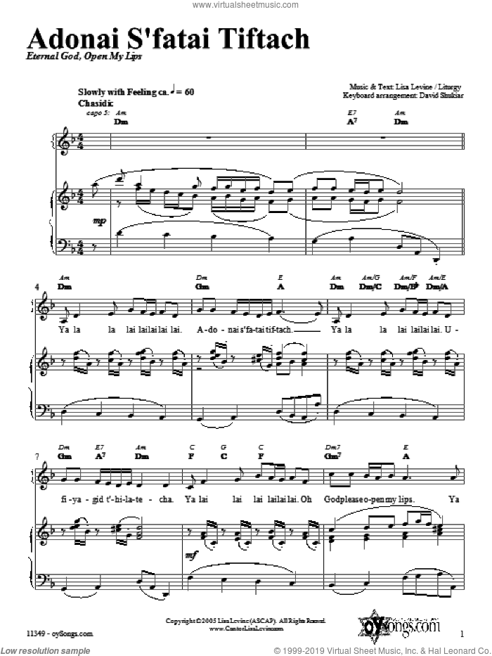 Adonai S'fatai Tiftach sheet music for voice, piano or guitar by Lisa Levine, intermediate. Score Image Preview.