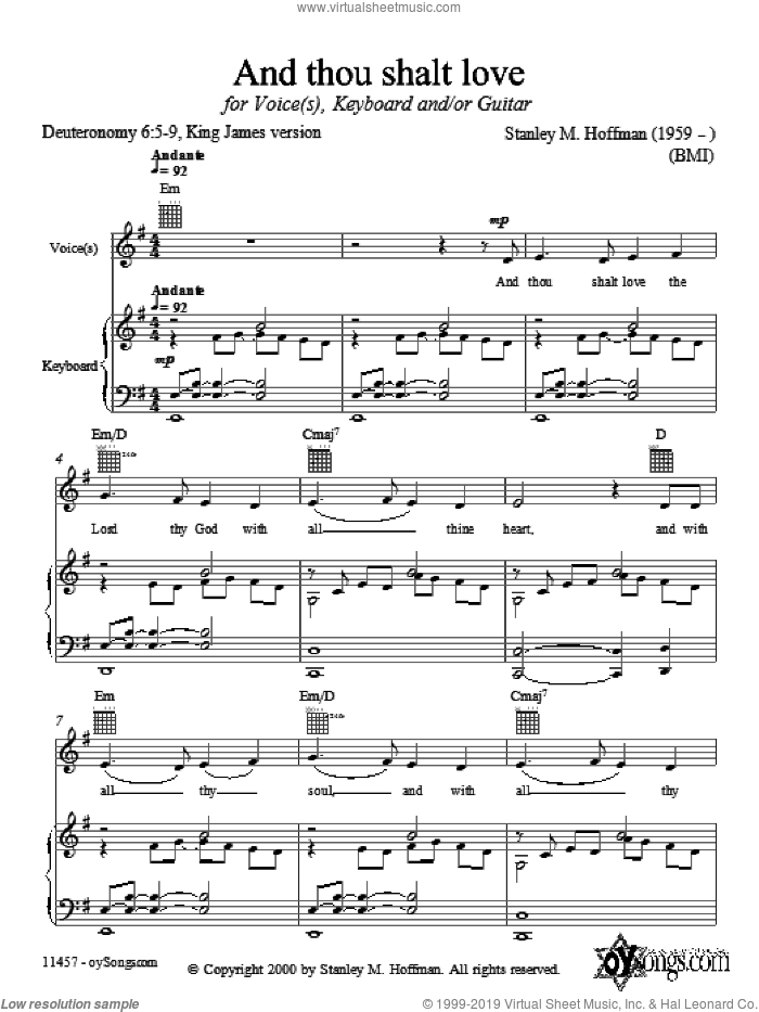 And Thou Shalt Love sheet music for voice, piano or guitar by Stanley Hoffman, intermediate skill level