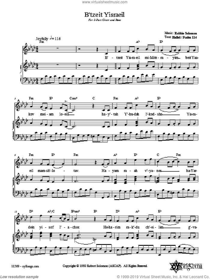 B'tzeit Yisraeil sheet music for voice, piano or guitar by Robbie Solomon, intermediate. Score Image Preview.