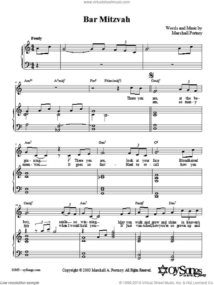 Bar Mitzvah sheet music for voice, piano or guitar by Marshall Portnoy. Score Image Preview.