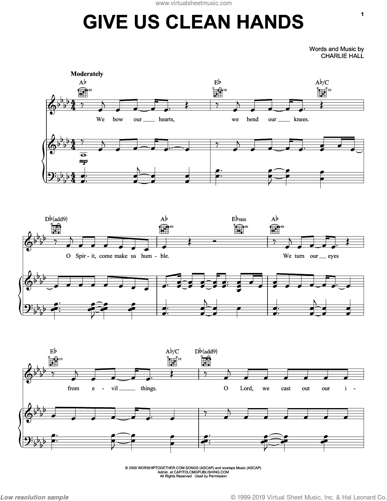 Give Us Clean Hands sheet music for voice, piano or guitar by Chris Tomlin and Charlie Hall, intermediate