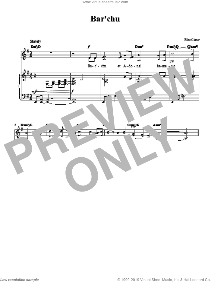 Bar'chu sheet music for voice, piano or guitar by Eliot Glaser. Score Image Preview.