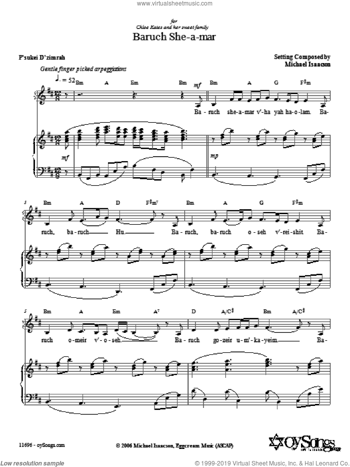 Baruch She-a-mar sheet music for voice, piano or guitar by Michael Isaacson. Score Image Preview.
