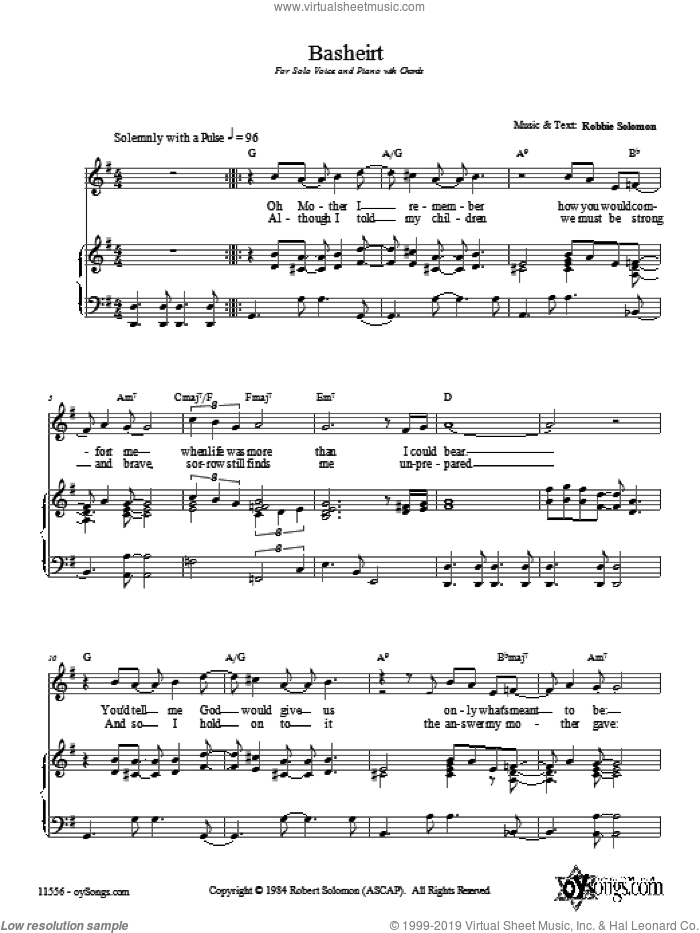 Basheirt sheet music for voice, piano or guitar by Robbie Solomon. Score Image Preview.