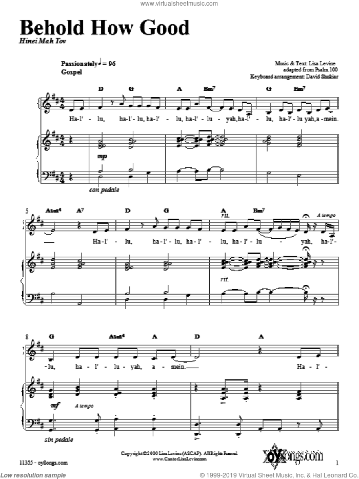 Behold How Good sheet music for voice, piano or guitar by Lisa Levine. Score Image Preview.
