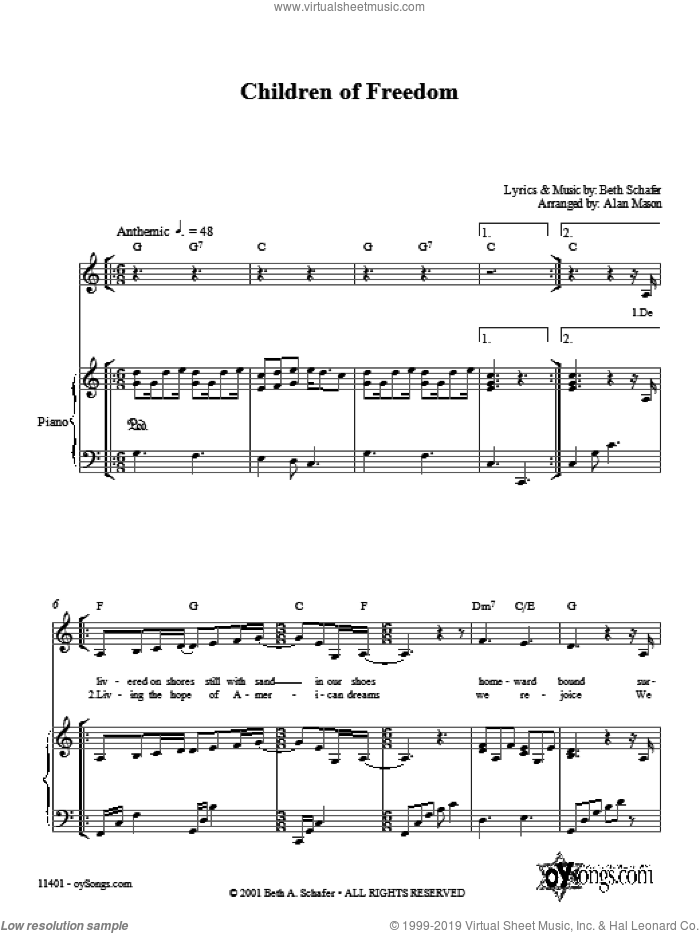 Children of Freedom sheet music for voice, piano or guitar by Alan Mason and Beth Schafer. Score Image Preview.