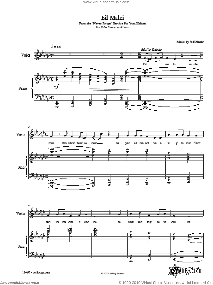 Eil Malei sheet music for voice, piano or guitar by Jeff Marder. Score Image Preview.