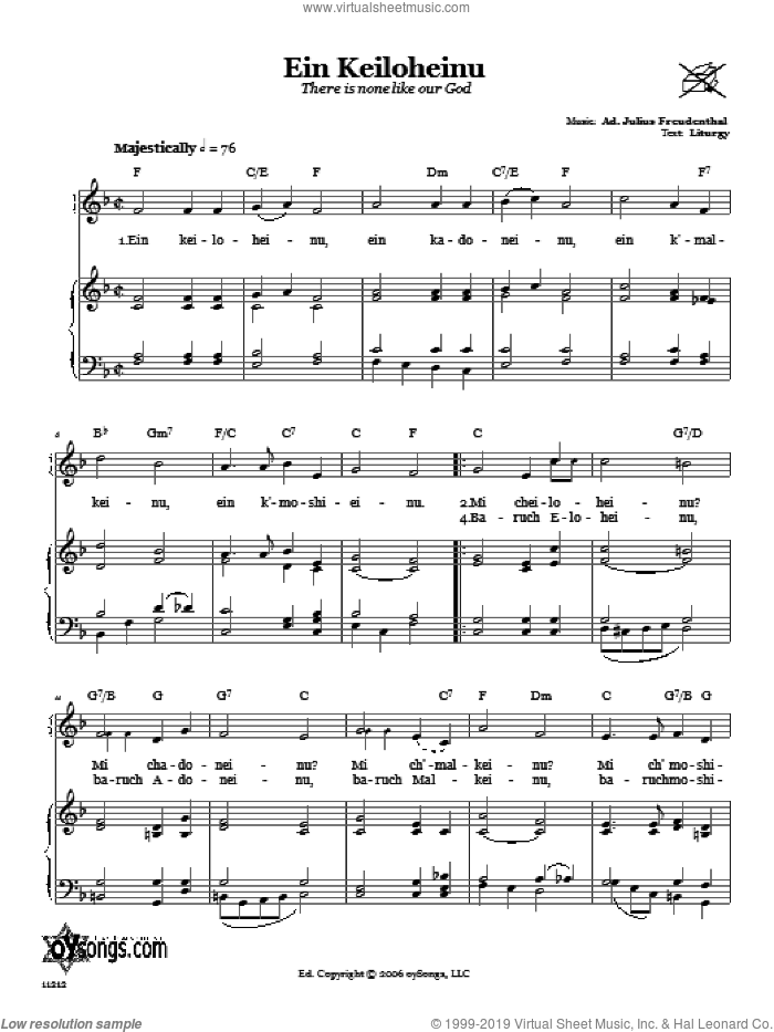 Ein Keiloheinu (There Is None Like Our God) sheet music for voice, piano or guitar by Julius Freudenthal, intermediate skill level