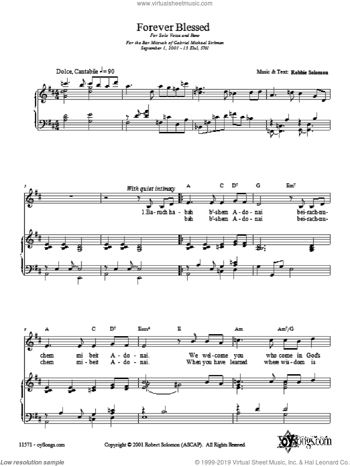 Forever Blessed sheet music for voice, piano or guitar by Robbie Solomon, intermediate voice, piano or guitar. Score Image Preview.