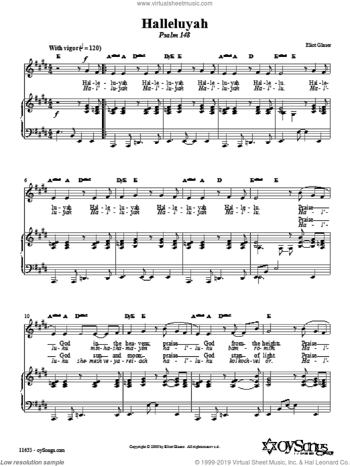 Halleluyah (Psalm 148) sheet music for voice, piano or guitar by Eliot Glaser, intermediate voice, piano or guitar. Score Image Preview.
