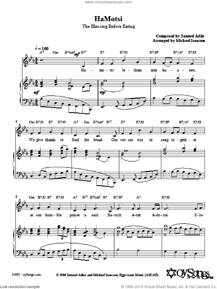 HaMotsi sheet music for voice, piano or guitar by Samuel Adler and Michael Isaacson. Score Image Preview.