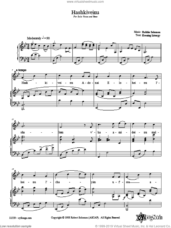 Hashkiveinu sheet music for voice, piano or guitar by Robbie Solomon. Score Image Preview.