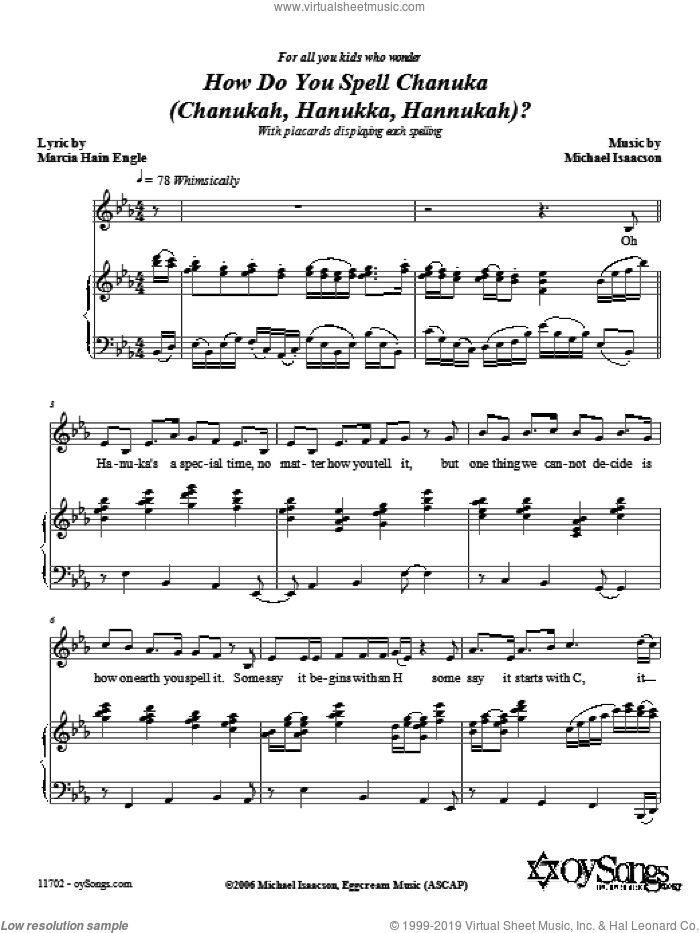 How Do You Spell Chanuka? sheet music for voice, piano or guitar by Marcia Hain Engle and Michael Isaacson. Score Image Preview.