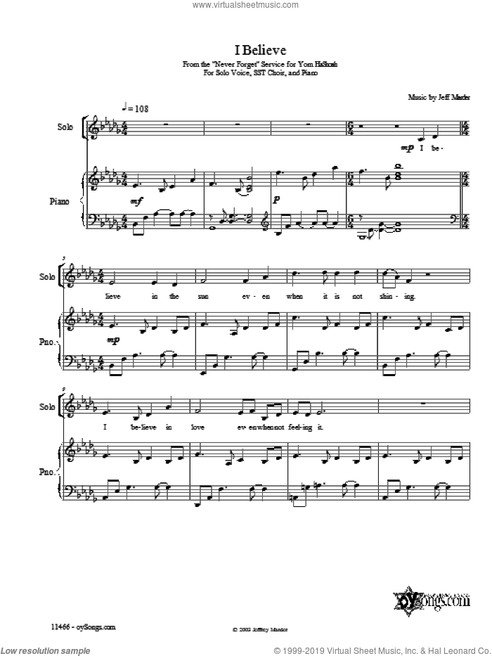 I Believe sheet music for voice, piano or guitar by Jeff Marder. Score Image Preview.
