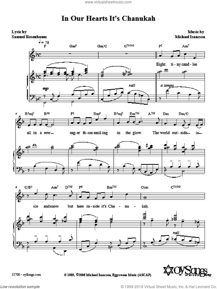 In Our Hearts It's Chanukah sheet music for voice, piano or guitar by Michael Isaacson, intermediate voice, piano or guitar. Score Image Preview.
