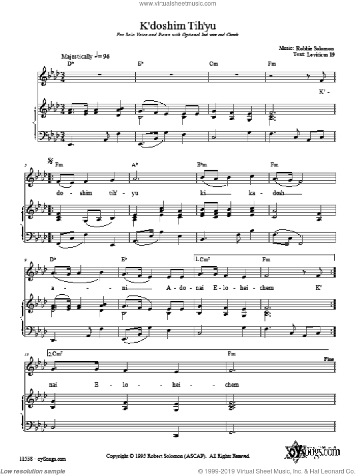 K'doshim Tih'yu sheet music for voice, piano or guitar by Robbie Solomon, intermediate. Score Image Preview.