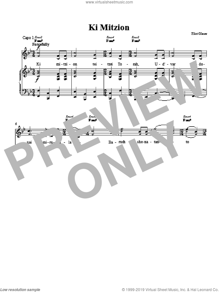 Ki Mitzion sheet music for voice, piano or guitar by Eliot Glaser. Score Image Preview.