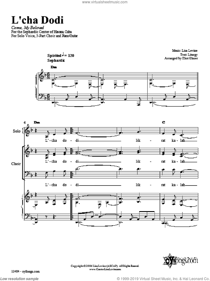 L'cha Dodi sheet music for voice, piano or guitar by Eliot Glaser and Lisa Levine. Score Image Preview.